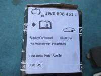 Bentley Continental GT GTC Flying Spur rear brakes brake pads #3827